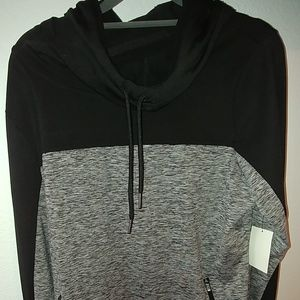 Light workout sweater with hood, scoop neck